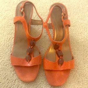Anne Klein Orange Wedge Sandal